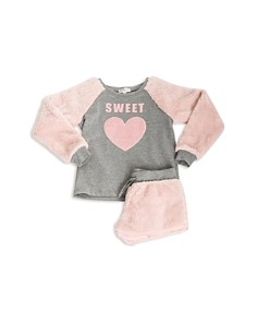PJ Salvage - Girls' Faux-Fur Sweet Pajama Top & Shorts Set - Little Kid, Big Kid